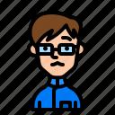student, avatar, boy, man, glasses