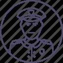 adult, criminal, man, police, policeman, solider, uniform icon