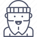 bearded, furcap, hipster, winter icon