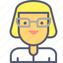 education, glasses, school, secretary, teacher icon