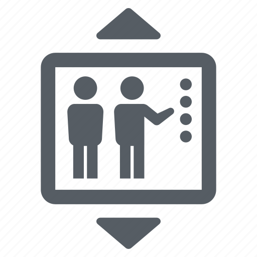 down, elevator, lift, people, up icon