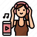 woman, lifestyle, listening, music