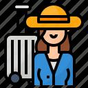 avatar, lifestyle, traveling, woman icon