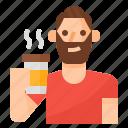 avatar, cafe, coffee, man icon