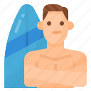 avatar, lifestyle, man, surfing icon