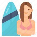avatar, lifestyle, surfing, woman icon
