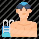 avatar, lifestyle, man, swimming icon