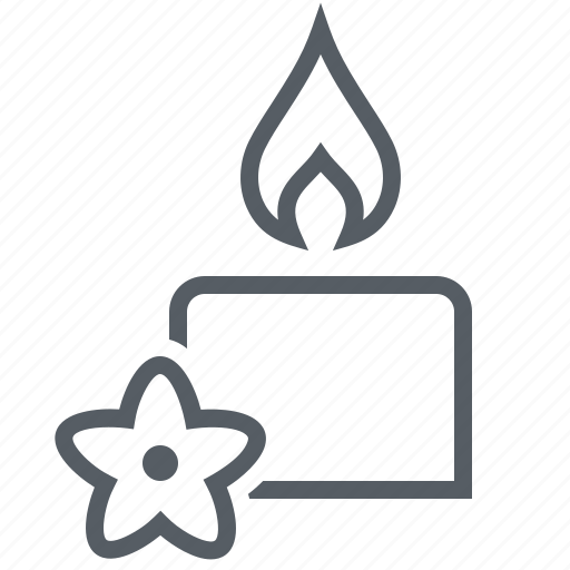 candle, flame, flower, wellness icon