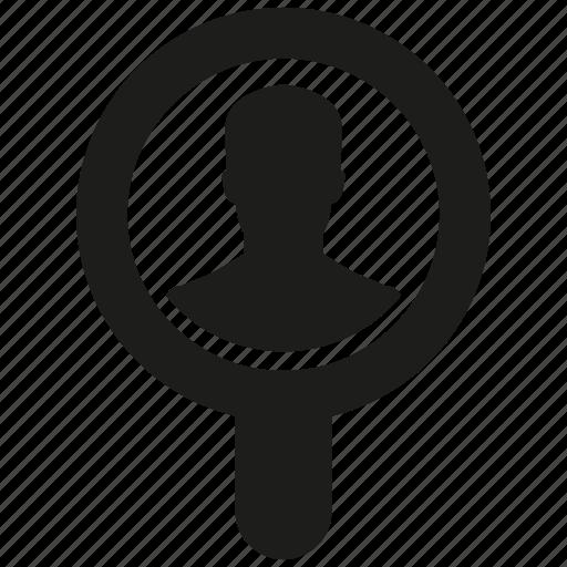 human, magnifier glass, man, search icon