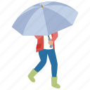 brolly, day, rain, rainy, umbrella, walk, wet icon