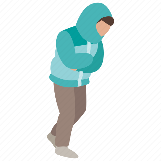 cold, freezing, frigid, hunched, man, weather, winter icon