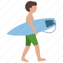 beach, boy, summer, surfer, surfing, teen, teenager icon