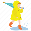 boots, child, puddle, rain, raincoat, toddler, yellow icon