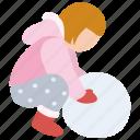 building, child, girl, making, snow, snowman, winter icon