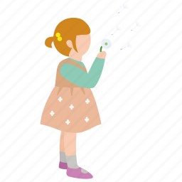 blow, child, dandelion, daughter, girl, innocence, wish icon