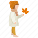 autumn, child, daughter, fall, girl, leaf icon