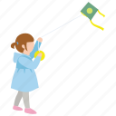 child, daughter, flying, girl, kite, windy