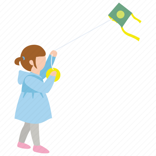 child, daughter, flying, girl, kite, windy icon