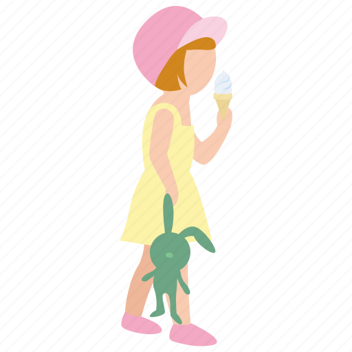 child, childhood, daughter, girl, icecream, summer, toy icon