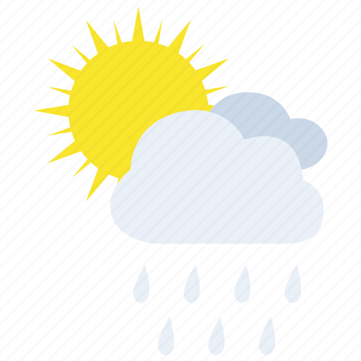 chance, light, rain, showers, sun, weather icon