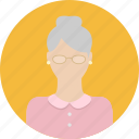 eye glasses, female, grandma, old, people, person, woman icon