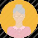 eye glasses, female, grandma, old, people, person, woman