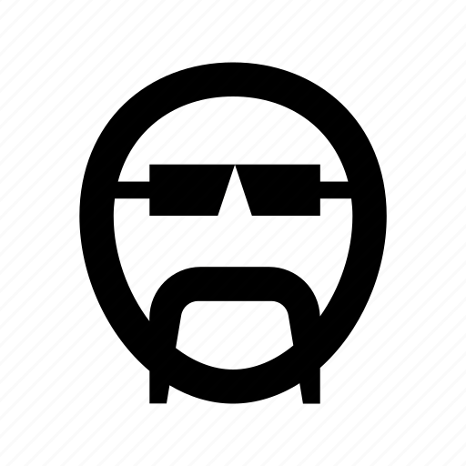 cartoon face, character, glasses, male avatar, mustache icon