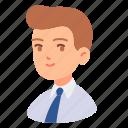 avatar, businessman, employee, male, man, people, tie icon