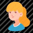 avatar, blonde, girl, people, ponytail, teenager, woman icon