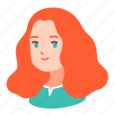 avatar, curly, ginger, girl, people, teenager, woman icon