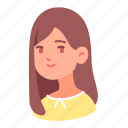 avatar, girl, lady, long, people, user, woman icon