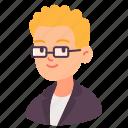 avatar, blonde, businessman, glasses, male, man, people icon
