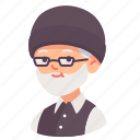 avatar, beard, glasses, grandfather, man, old, people icon