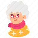 avatar, elderly, glasses, grandmother, old, people, woman icon