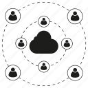 cloud collaboration, cloud computing, communication, internet, network, people icon