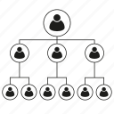 management, business, people, organization chart, connect, leader icon