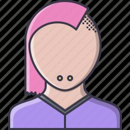 barbershop, female, hairstyle, rocker, style, woman icon