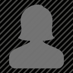 account, avatar, female, profile, silhouette, user, woman icon