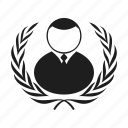 award, laurel wreath, man, people, person, silhouette, wreath icon