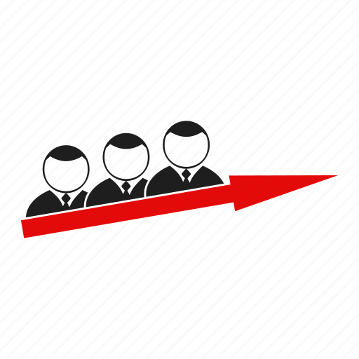 arrow, career, group, man, people, person, silhouette icon