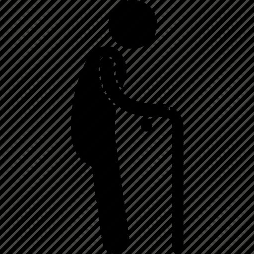 elderly, man, old, senior, standing, stick, walking icon