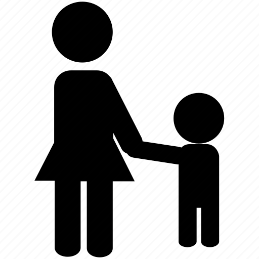 childcare, crossing the road, holding hands, kid, mother, mother and child, parent, parenting, silhouette icon