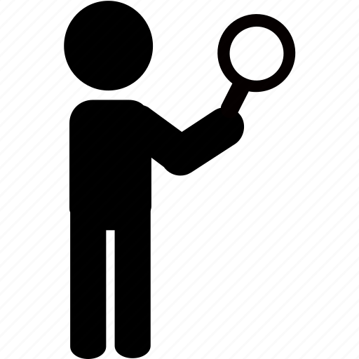 detective, magnifying glass, person, search, searching, silhouette icon