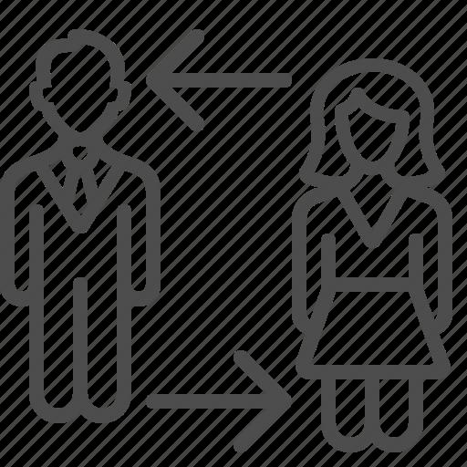 arrow, businessman, exchange, human resources, man, replace, woman icon