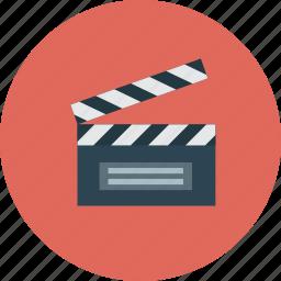 clapper, film, media, movie icon