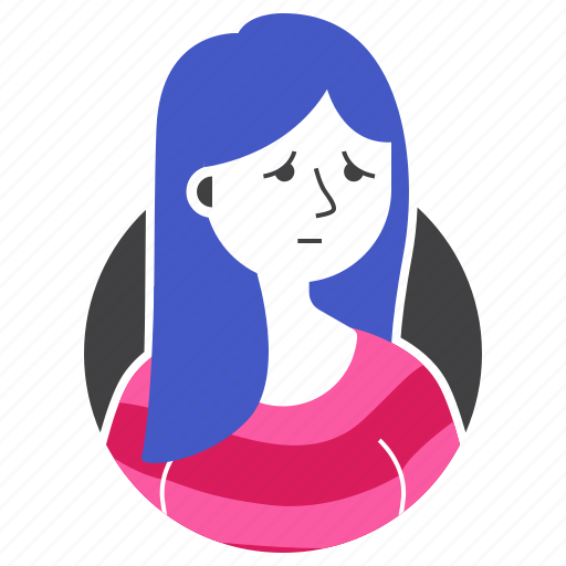 avatar, girl, long hair, people, sad, woman, worry icon