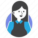 avatar, girl, happy, long hair, outfit, woman, work icon
