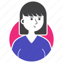 avatar, expression, girl, millenial, people, short hair, woman icon