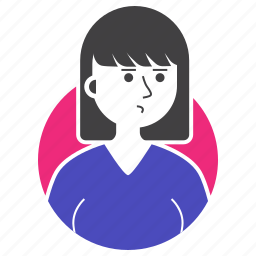 avatar, expression, girl, people, short hair, woman, worry icon