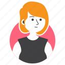 avatar, girl, millenial, people, short hair, woman, work icon